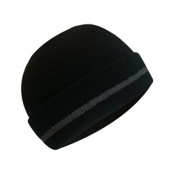 Black Toque w/Thermakeeper Lining & 3M Reflective Stripe on flap
