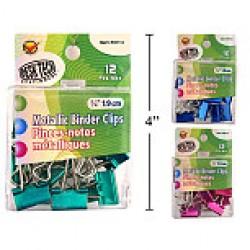 "Mini Metallic Fold Back Clips - 3/4"" ~ 12 per pack"