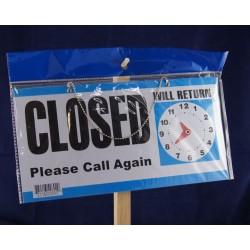"Open / Closed w/Clock Window Sign - 11.5"" x 6"""
