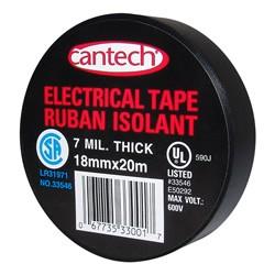 Cantech Black Vinyl Electrical Tape ~ 20m x 6 rolls