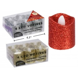Christmas LED Glitter LED Votive ~ 6 per pack