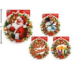 Christmas Glitter Wreath Window Clings