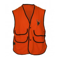 Thermoking Fluorescent Orange Fleece Vest w/Deer Embroidery