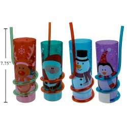 Christmas Printed Plastic Tumbler with Swirly Straw ~ 10 oz