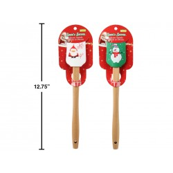Christmas Silicone Spatula with Wooden Handle ~ 13""