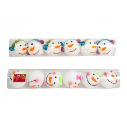Christmas Snowman Tree Ornaments ~ 6 per pack
