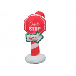 Christmas Inflatable 2- LED Light-Up Santa Stop Here Sign ~ 4'