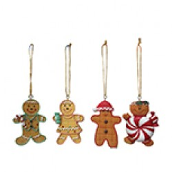 "Christmas Polyresin Gingerbread Man Tree Ornament ~ 3.35"""