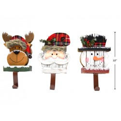 Christmas Buffalo Plaid Wooden Xmas Character Stocking Holder