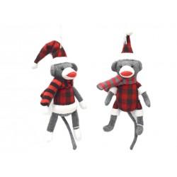 "Christmas Buffalo Plaid Sock Monkey Tree Ornament ~ 5"""