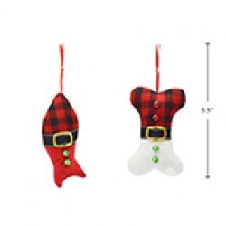 """Christmas Buffalo Plaid Fabric Fish / Bone Tree Ornament ~ 5.5"""""""