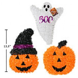 "Halloween Tinsel Ghost / Pumpkin Wall Decoration ~ 13.5""H"