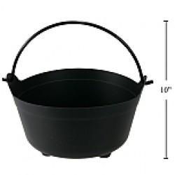"Halloween Plastic Black Cauldron ~ 10"" D"