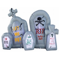 Halloween Inflatable Tombstone Cluster with 5 LED Lights ~ 6'