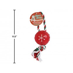 "Christmas 11"" Tug Rope with Snowflake Ball"