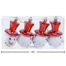 "Christmas Snowman Head Ornaments - 3.5"" ~ 4 per pack"
