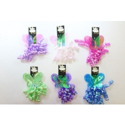 Iridescent Butterfly Bow with Curly Swirl ~ 6 assorted colors