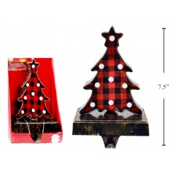 Christmas Buffalo Plaid Light-Up Tree Stocking Holder