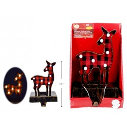 Christmas Buffalo Plaid Light-Up Reindeer Stocking Holder