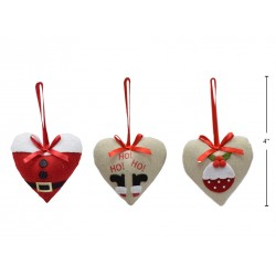 "Christmas Fabric Heart Shaped Tree Ornament ~ 4"""