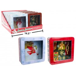 "Christmas Square Tin with Printed Window ~ 8.125"" x 2"""