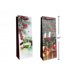 Christmas Bottle Gift Bag ~ Wine Glasses