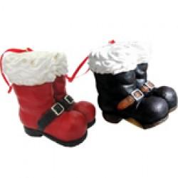 "Christmas Polyresin Santa Boots Ornament ~ 2.75""H"