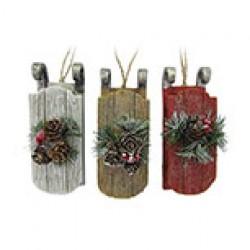 "Christmas Polyresin Sled Ornament ~ 5""H"