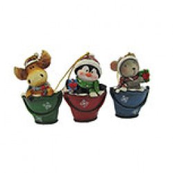 "Christmas Polyresin Character in Bucket Ornament ~ 3.75""H"