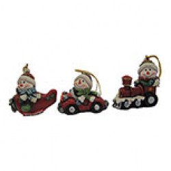 "Christmas Polyresin Snowman in Vehicle Ornament ~ 3""H"