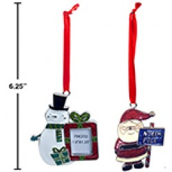 "Christmas Metal Epoxy Ornament ~ 3""H"