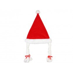 Christmas Red Velvet Sant Hat with Pigtails