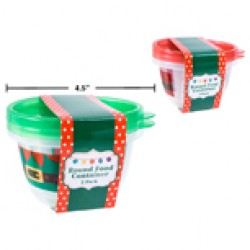 Christmas Round Plastic Containers ~ 2 per pack