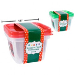 Christmas Square Plastic Containers ~ 2 per pack