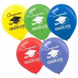 """Graduation Conrats Graduate! Latex Balloons - 12"""" ~ 15 per pack"""