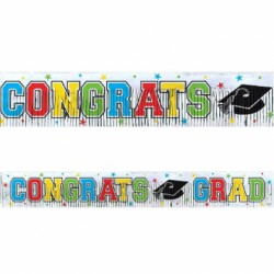 "Graduation Metallic Fringe Foil Banner ~ 5' x 8"""