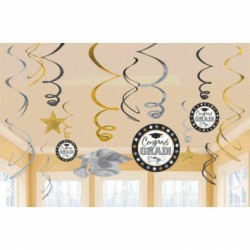 Graduation Foil Value Pack Swirl Decorations ~ 12 per pack