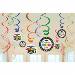 Graduation Value Pack Foil Swirl Decorations ~ 12 per pack