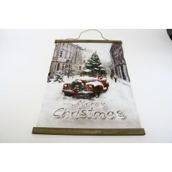 """Christmas Wall Hanging with Lights - Truck with Tree ~ 25"""" x 18"""""""