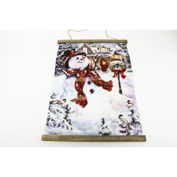 "Christmas Wall Hanging with Lights - Snowman ~ 25"" x 18"""