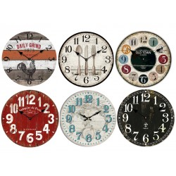 "Vintage MDF Wall Clock - 13"" Round ~ 6 assorted"