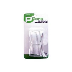 Telephone Line Cord - White ~ 25' (7.61M)