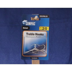 Nickel Treble Hooks - Size 2/0 ~ 3 per pack