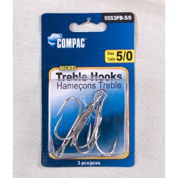Nickel Treble Hooks - Size 5/0 ~ 3 per pack