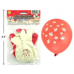 "Canada Maple Leaf Printed Balloons - 10"" ~ 10 per pack"