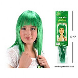 St. Patrick's Day Long Green Wig