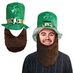 St. Patrick's Day Shamrock Top Hat w/Attached Beard