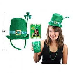 St. Patrick's Day Velvet Top Hat Headband w/Glitter Shamrock
