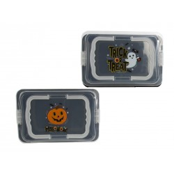Halloween Plastic Food Carrier with Frosted Lid and Handle