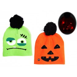 Halloween Kid's Light-Up Knitted Hat with Pom Pom